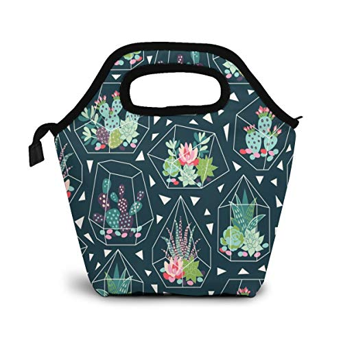 Tropical Succulents Cactus Flower Insulated Lunch Portable Carry Tote Picnic Storage Bag Green Plant Pattern Lunch Box Food Bag Gourmet Handbag Cooler Warm Pouch Tote Bag For Work Office