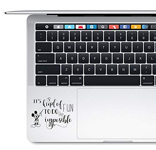 Mickey Mouse Disney Quote Vinyl Decal Sticker for Laptop MacBook trackpad It's Kind of Fun to do The Imposible