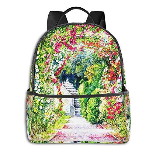 Rucksack Freizeit Damen Herren, Baumblume Gartengras Campus Kinderrucksack, Daypack Schulrucksack Sportrucksack Tablet Tasche 15,6 Zoll