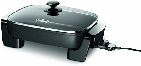 """De'Longhi Electric Skillet with Tempered Glass Lid, 16"""" X 12"""", Black"""