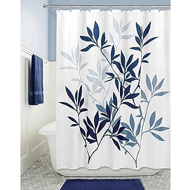 InterDesign 35606 Leaves Fabric Shower Curtain - Standard, 72  x 72 , Navy/Slate Blue
