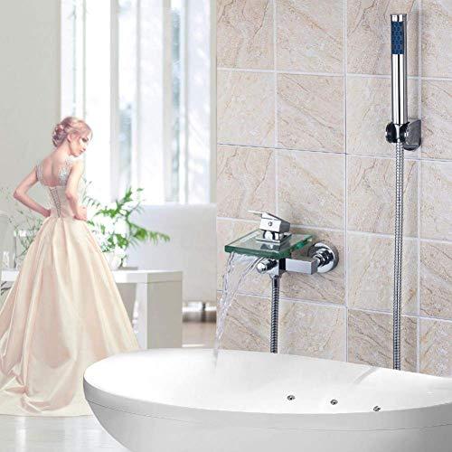 BINGFANG-W Juego de grifo de la ducha del baño del grifo - acabado en cromo de pared grifo mezclador de ducha de mano ABS con spray Ducha