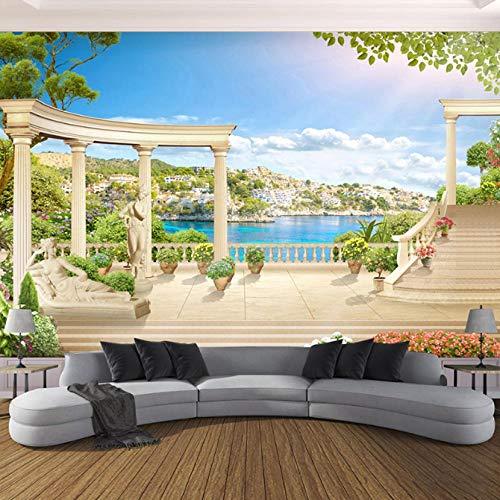 Swyfc 3D wandbehang Romeinse zuil tuin zee landschap opening schilderij woonkamer 3D achtergrond wandbehang