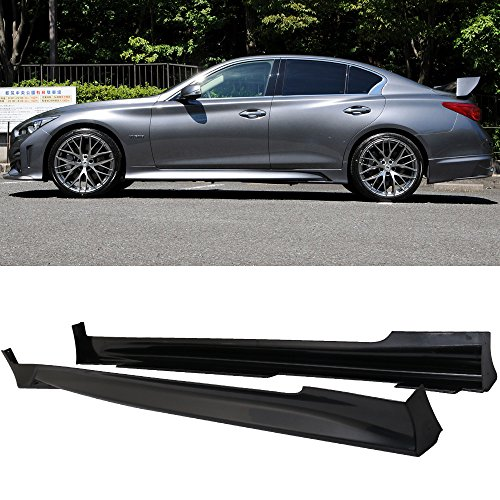 Side Skirts Compatible With 2014-2019 Infiniti Q50 | Side Skirts 2PCS - ABS by IKON MOTORSPORTS | 2015 2016 2017 2018