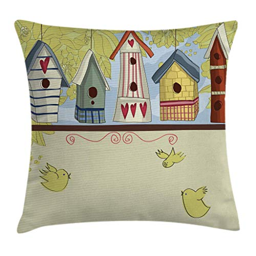 """Ambesonne Animal Throw Pillow Cushion Cover, Row of Birdhouses with Birds Hearts Leaves and Flowers Illustration Print, Decorative Square Accent Pillow Case, 18"""" X 18"""", Pistachio Green"""