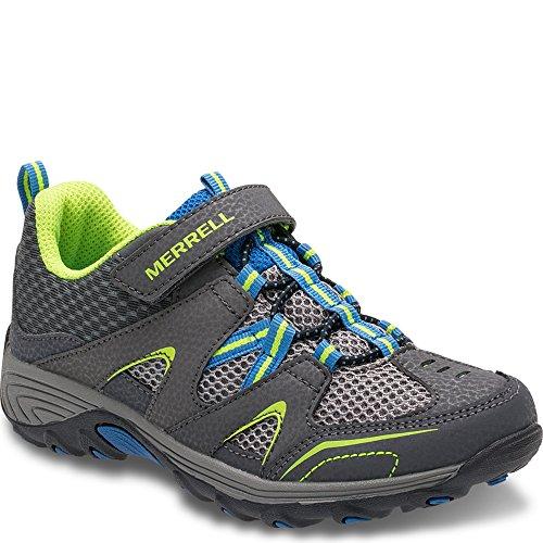 Merrell Trail Chaser Hiking Shoe (Little Kid/Big Kid), Grey/Blue/Citron, 4 M US Big Kid