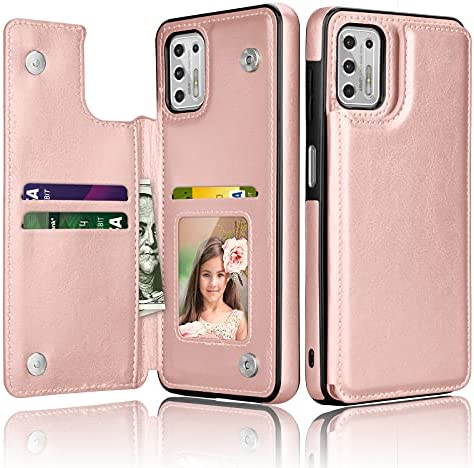 Thybx Moto G Stylus 2021 Case, Motorola Moto G Stylus 2021 Wallet Case with Card Holder, PU Leather ID Credit Card Slots Snap Buttons Clousure TPU Frame Bumper Back Flip Phone Cover [Rose Gold]