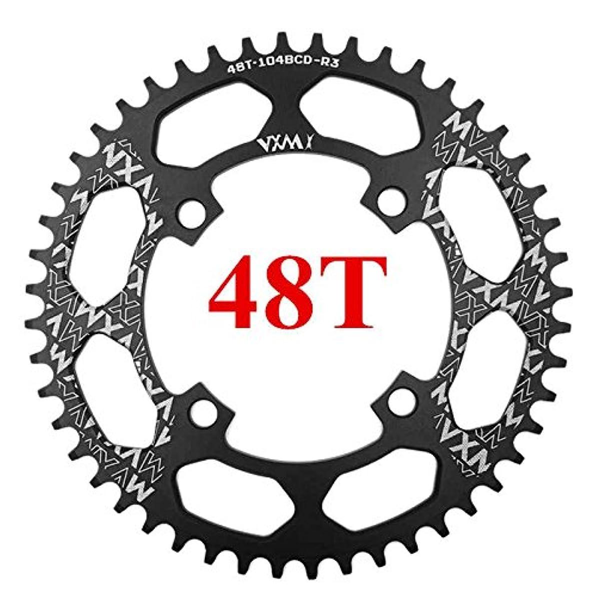 振り子こだわり可動Propenary - 自転車104BCDクランクオーバルラウンド30T 32T 34T 36T 38T 40T 42T 44T 46T 48T 50T 52TチェーンホイールXT狭い広い自転車チェーンリング[ラウンド48Tブラック]