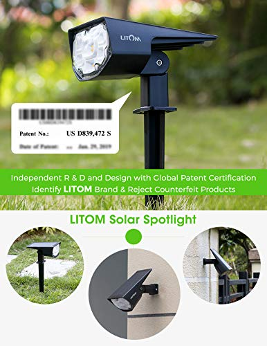 LITOM 12 LED Solar Landscape Spotlights, IP67 Waterproof Solar Powered Wall Lights 2-in-1 Wireless Outdoor Solar Landscaping Lights for Yard Garden Driveway Porch Walkway Pool Patio 4 Pack Warm White