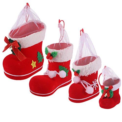 OULII 4 Pcs Weihnachtsstiefel Nikolausstiefel zum Befüllen beflockt Geschenk Stiefel Weihnachtsdeko Süßigkeiten Halter (Rot)