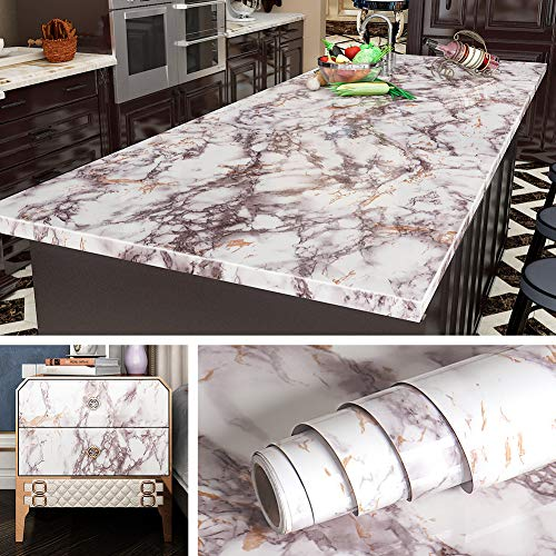 Livelynine 197x24 Inch Marble Contact Paper Self Adhesive Granite Wallpaper Peel and Stick Countertops for Kitchen Vinyl Wrap Waterproof Marble Desk Bathroom Vanity Countertop Covers Removable Wide