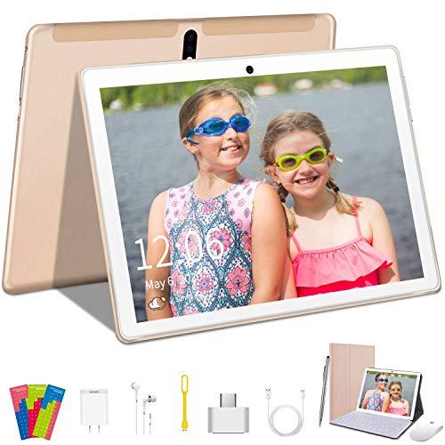 Tablet 10 Pulgadas Android Tablet PC, Quad Core, 64GM ROM, 4GB RAM, Android 9.0 Pie - 5MP + 8MP/WiFi/Bluetooth/GPS/OTG/Soporte Netflix/Tipo-C/8000mAh/Expandido 128GB/con Teclado - Oro