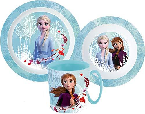 Juego de vajilla infantil de Frozen con plato, cuenco para cereales y vaso, incluye cubiertos