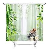 /N Set Roman SPA bambú Material de Fondo Swan poliéster Impermeable Cortina de Ducha baño Debe Tener una máquina
