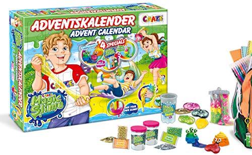 CRAZE 24737 Adventskalender Magic Slime Weihnachtskalender mit Schleim für Mädchen Jungen Spielzeugkalender, kreative Inhalte, Tolle Überraschungen