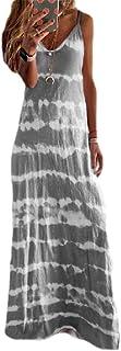 MK988 Women's Summer Color Block Spaghetti Strap Print Loose Beach Party Maxi Dress Sundress