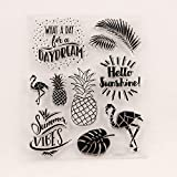 Summer Vibes Pineapple Palm Tree Leaves Flamingo Clear Stamps for Cards Making Decoration and Scrapbooking Rubber Stamps for Craft