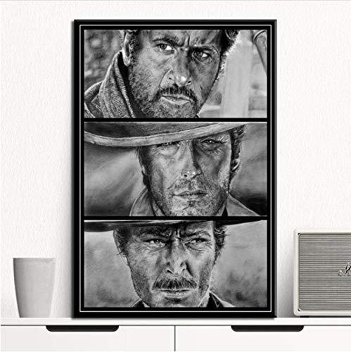 ZzSTX Clint Eastwood Un Puñado De Dólares Película Lienzo Pintura Carteles E Impresiones Cuadro De Arte De Pared Cartel Vintage Decorativo para El Hogar 50X70Cm Sin Marco