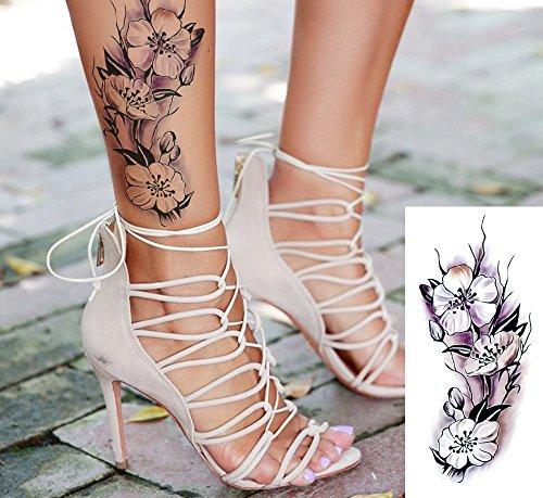 EROSPA® Tattoo-Bogen temporär - Blumenmotiv Blüten Violett Schwarz Weiß 19 x 9cm
