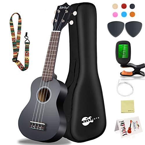 Juego de ukelele soprano para niños y adultos - kit de inicio de ukelele de 21 pulgadas con - bolso, afinador, cancionero, cuerdas, púa, paño de pulido