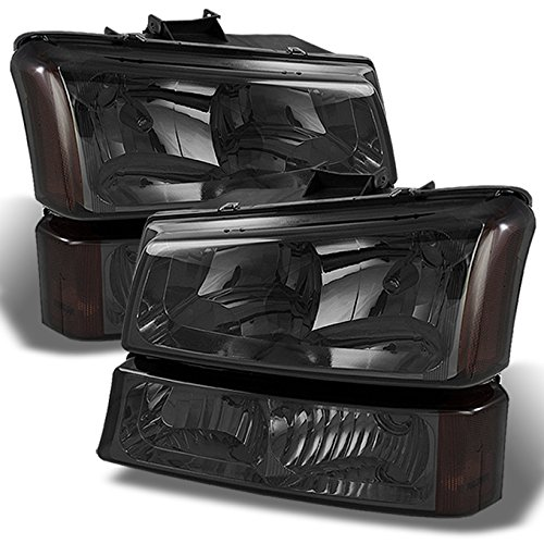 For 2003-2006 Chevy Silverado Avalanche Replacement Smoked Headlights Driver/Passenger Head Lamps Pair