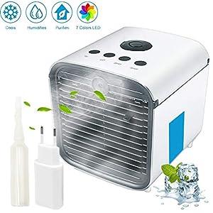 Nifogo Aire Acondicionado, Aire Refrigerador, Portatil Climatizador Evaporativo, 3-en-1 Mini Ventilador Humidificador Purificador de Aire, a Prueba de Fugas, Nuevo Papel de Filtro (Blanco 2)