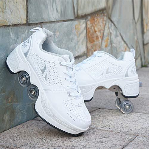 HUOQILIN Rollschuh Roller Skates Lauflernschuhe,Sneakers,2in1 Mehrzweckschuhe Schuhe Mit Rollen Skateboardschuhe,Inline-Skate,Verstellbare Quad-Rollschuh Stiefel Skateboardschuhe (White, 36)