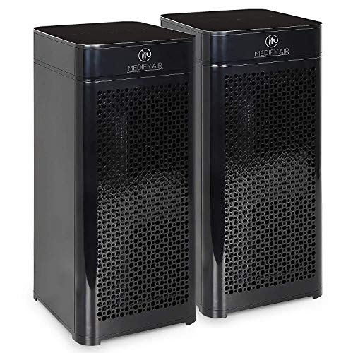 Medify Air MA-40-B2 V2.0 Air Purifier with H13 HEPA filter - a higher grade of HEPA for 840 Sq. Ft. Air Purifier, 99.9% | Modern Design - Black (2-Pack)