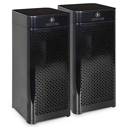 Medify MA-40B2 V2.0 Medical Grade Filtration H13 True HEPA for 840 Sq. Ft. Air Purifier, 99.9% | Modern Design - Black (2-Pack)