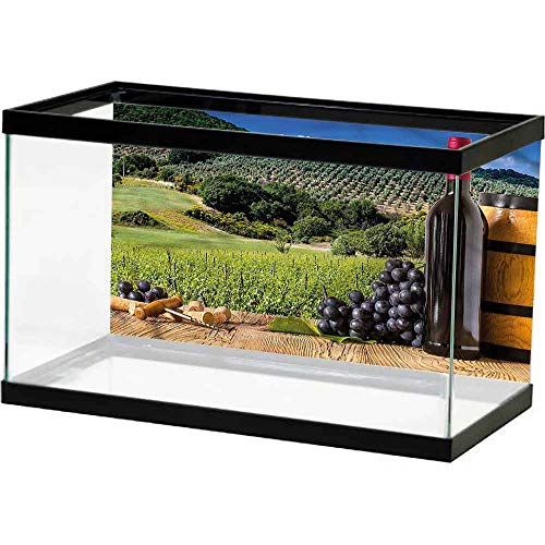 homecoco Easy to Apply and Remove Fish Tank Wine,Idyllic Tuscany Country Underwater World Backdrop