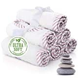 Premium Baby Washcloths – 100% Bamboo Pink Baby Washcloth Set of 6 – Ultra Soft and Absorbent Baby Towels for Boys – Perfect Baby Shower Gift for Baby Boy or Girl by San Francisco Baby