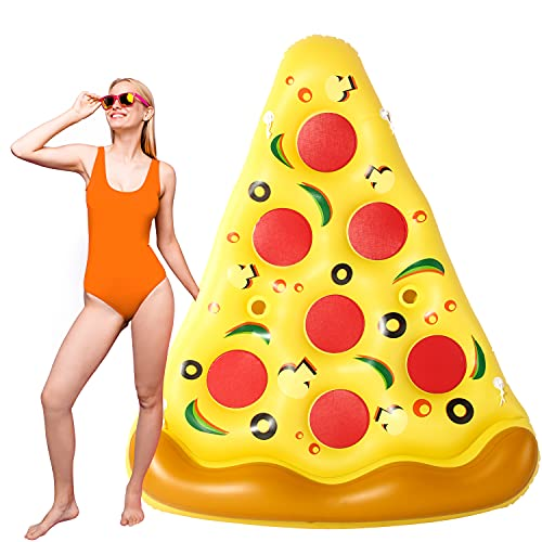 Parentswell Giant Inflatable Pizza Slice Pool Float, 73in Fun Pool Floatie with Cup Holder, Summer Pool Raft Beach Lounge Toys, Swimming Pizza Pool Floatie Party Decoration for Adults