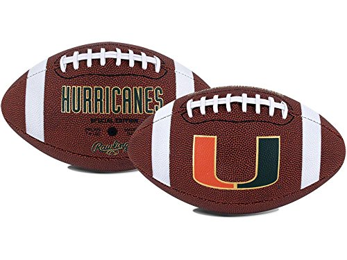 NCAA Game Time Full Size Football , Miami Hurricanes, Brown, Full Size
