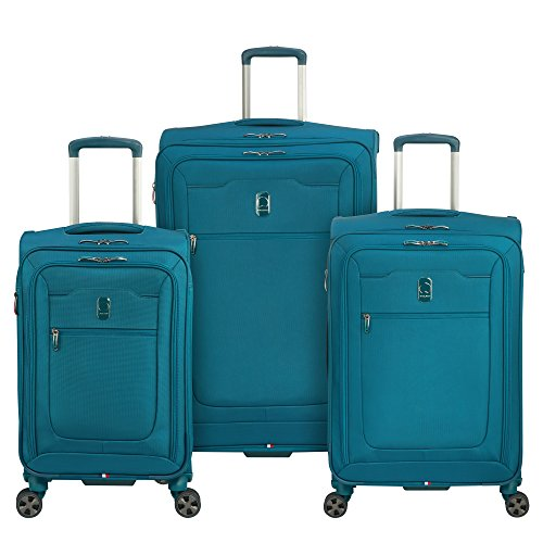 DELSEY Paris Hyperglide Softside Expandable Luggage with Spinner Wheels, Teal Blue, 3-Piece Set (21/25/29)