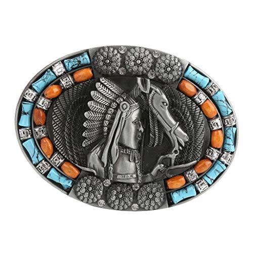 Baoblaze Hebilla Ovalada de Indio Rodeo Metal de Reemplazo para Cinturón de Hombres - 1
