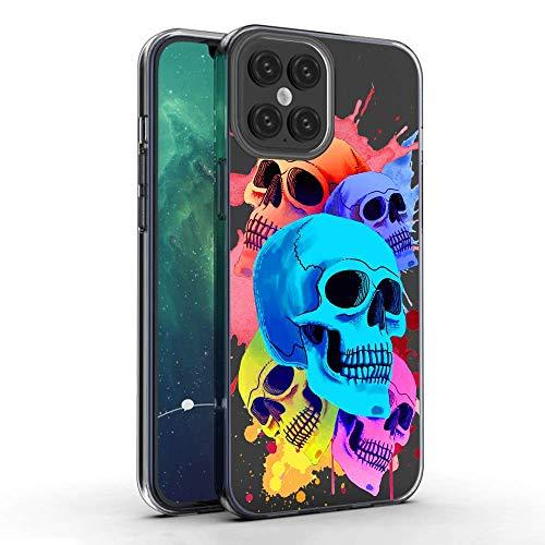 Kompatibel mit iPhone 12 Pro Hülle, buntes Totenkopf-Muster, Kristalldruck, weich, superdünn, transparent, Schutzhülle für iPhone 12 Pro