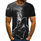 SSBZYES Camiseta De Verano para Hombre Camiseta De Manga Corta para Hombre Camiseta De Cuello Redondo Lobo Animal Mirando hacia Arriba Impresión Camiseta De Manga Corta De Gran Tamaño Camiseta Top
