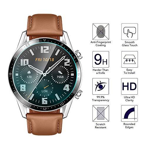 Huawei Watch GT 2 46mm Panzerglas Schutzfolie, 4 stück 2.5D Arc Edges 9H Glas Displayschutz Anti-Kratzer blasenfrei Schutzfolie mit CLAR Lebenslange Ersatzgarantie - 3