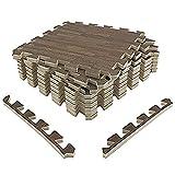 Amazon Brand - Umi - Losas de goma entrelazadas de 30 X 30 cm (set de 9) (set de 9 madera oscura)