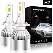 AMBOTHER H4 LED Headlight Bulb Kit- 6000K CSP Chips/Internal Driver- Dual Hi/Lo High and Low Beam 12V-Free 2X Car Dust Covers