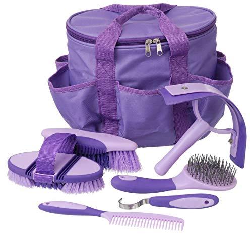 Tough 1 Horse Grooming Kit Set Great Grips Brushes Hoof Pick Sweat Scraper Purple