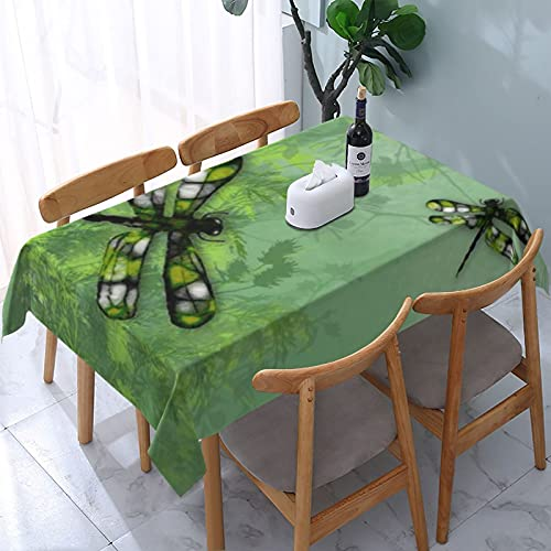 Table Cloth,Green Dragonflies American Mojo Decorative Tablecloth Rectangle Water Resistant Tablecloth for Kitchen Dinning Party 54x72 inch