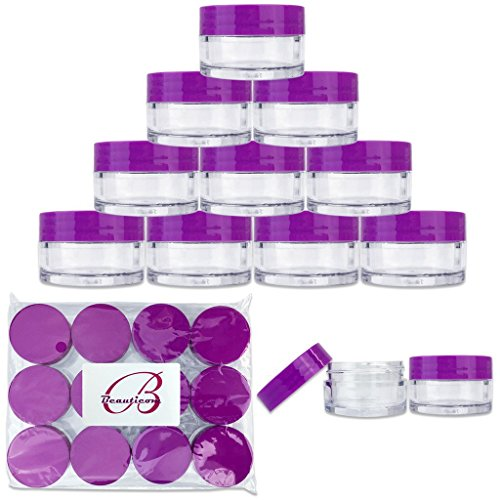 Beauticom 20 gram/20ml Empty Clear Small Round Travel Container Jar Pots with Lids for Make Up Powder, Eyeshadow Pigments, Lotion, Creams, Lip Balm, Lip Gloss, Samples (12 Pieces, Purple)