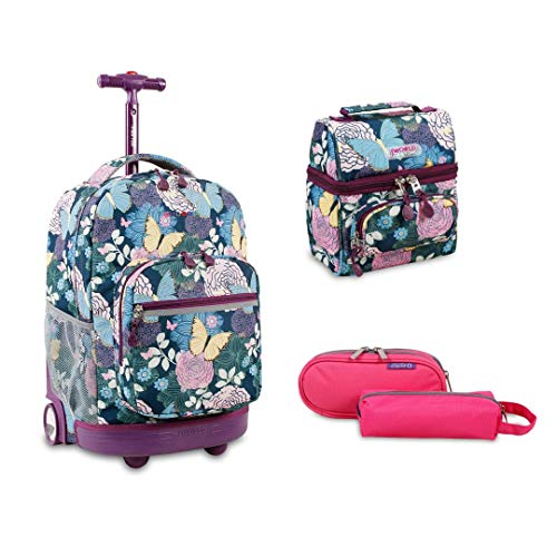 J World New York Sunrise Rolling Backpack Back To School Set w/Pencil Case & Lunch Bag (Secret Garden w pink jojo)