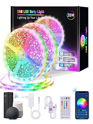 【20M WiFi】Alexa Tiras LED 20 metros, Lijun TikTok WiFi Tiras de LED Interior Multicolor Luces LED 5050 RGB con 360...