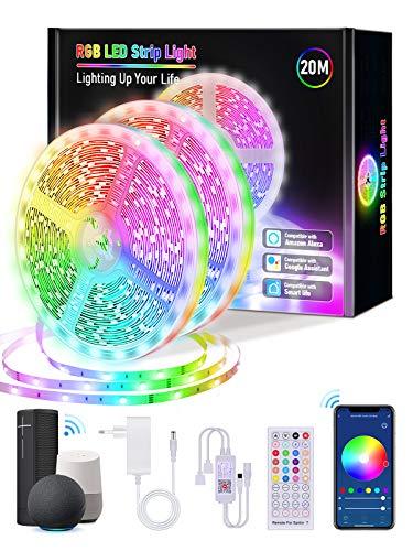 【20M WiFi】Alexa Tiras LED 20 metros, Lijun WiFi Tiras de LED Interior Multicolor Luces LED 5050 RGB con 360 LED Control Remoto y Controlador, Modo Música Compatible con Alexa, Google Home, Tuya App