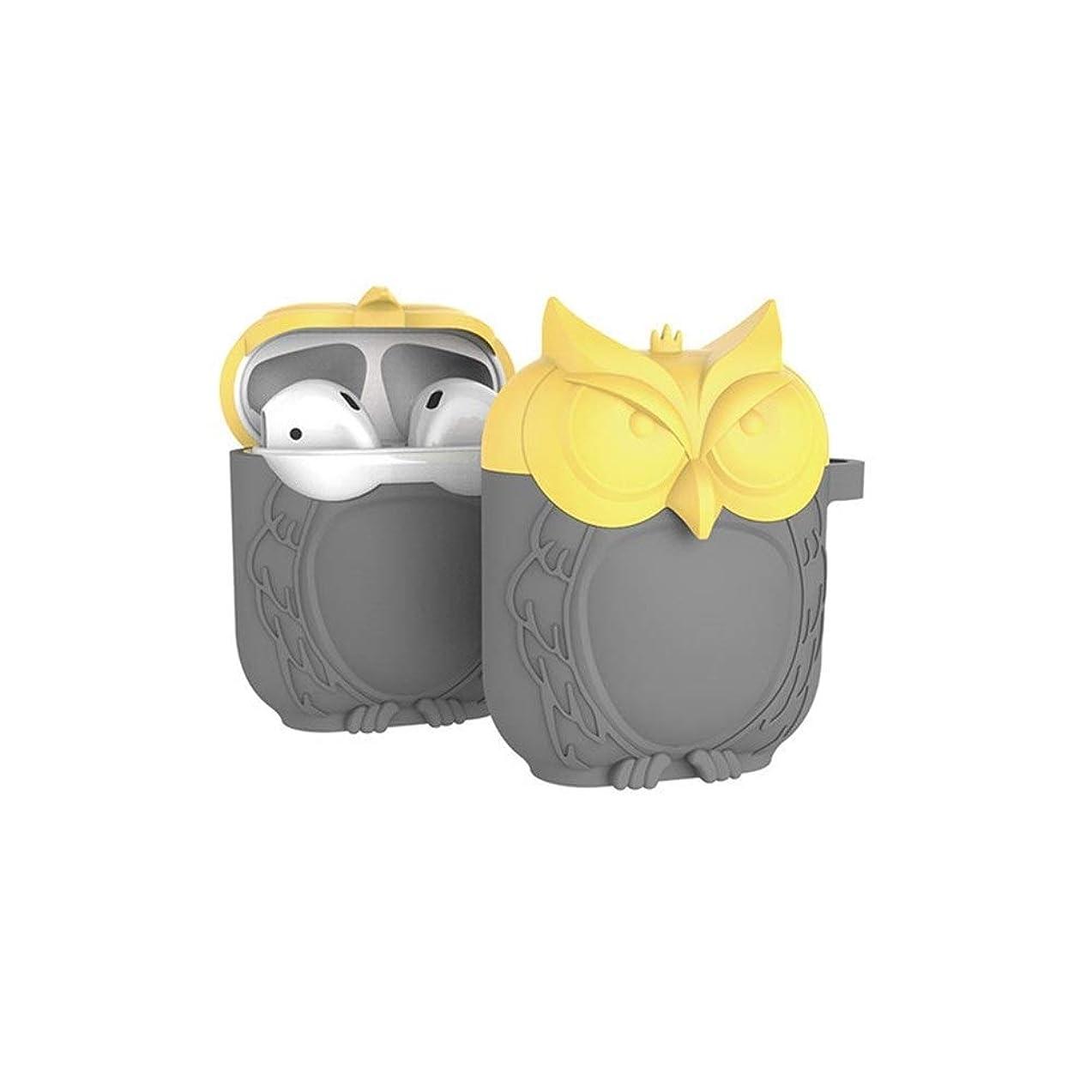 不和免疫する金額Airpodカバー、イヤホンセット、AirpodワイヤレスBluetoothヘッドセットカバー、Bluetoothヘッドセットプロテクター シリコン、耐衝撃 (Color : Gray yellow)