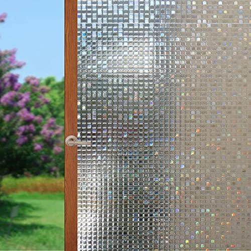 Arthome Película Privacidad Decorativa de Vidrio 90CM x 200CM,Efecto Arco Iris,Sin Pegamento Vinilo Pegatina de Ventana,Adherencia...