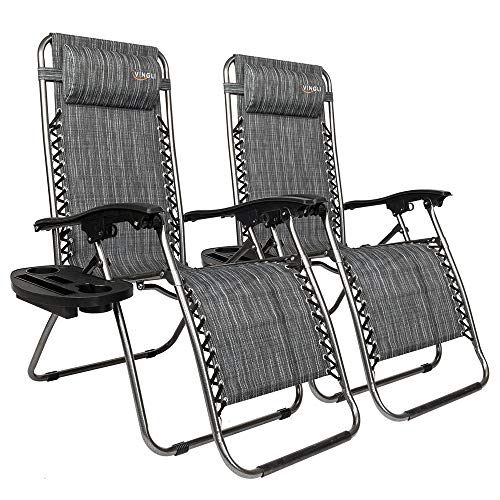 VINGLI Upgraded Zero Gravity Chair Set of 2 Lounge Outdoor Chairs with Trays and Pillows, Folding Patio Recliner Chairs for Backyard Poolside Garden