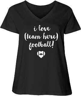 I Love Custom Team Football Mom: Women's LAT Curvy Plus Size V-Neck T-Shirt